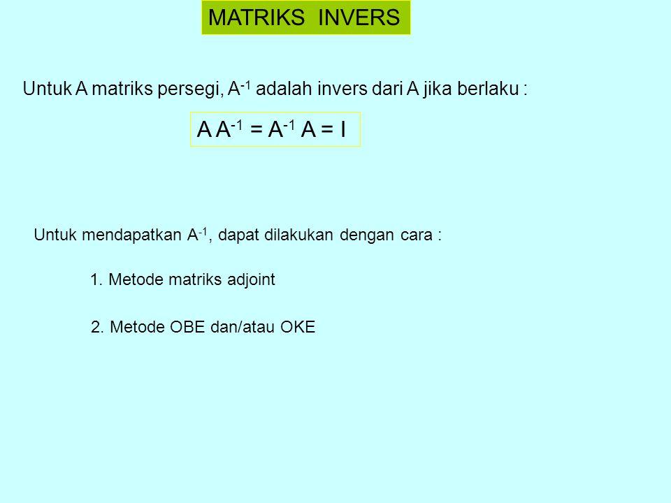 Mencari Invers dengan Matriks Adjoint Ingat kembali sifat matriks adjoint, yaitu : A adj(A) = adj(A) A =  A  I Jika  A  ≠ 0, maka : A = A = I Menurut definisi matriks invers : A A -1 = A -1 A = I Ini berarti bahwa : A -1 = dengan  A  ≠ 0