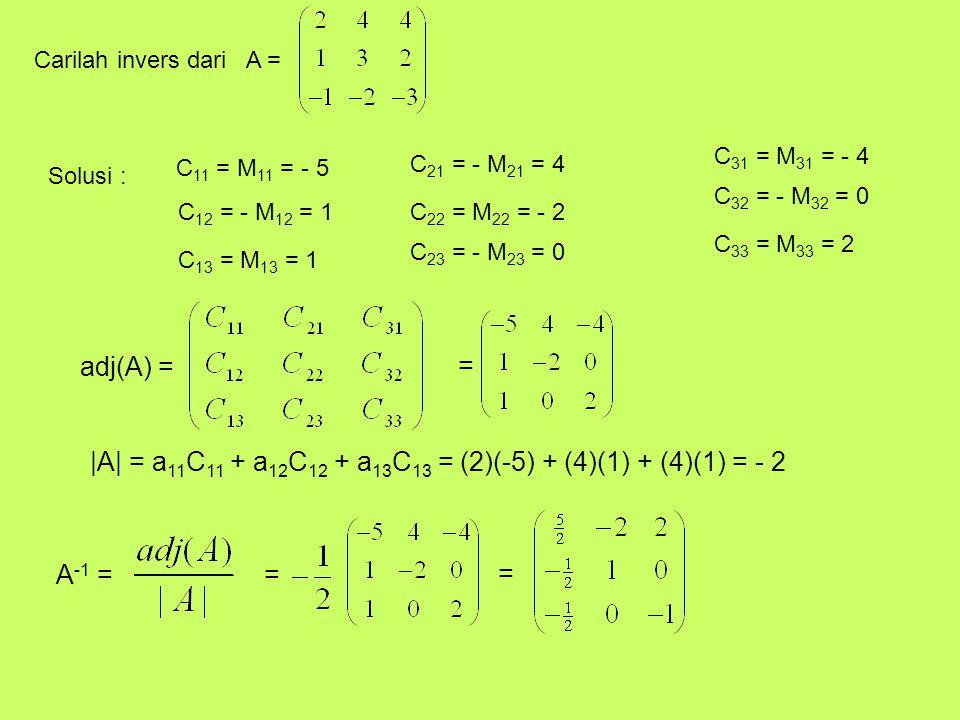 Carilah invers dari A = Solusi : C 11 = M 11 = - 5 C 12 = - M 12 = 1 C 13 = M 13 = 1 C 21 = - M 21 = 4 C 22 = M 22 = - 2 C 23 = - M 23 = 0 C 31 = M 31