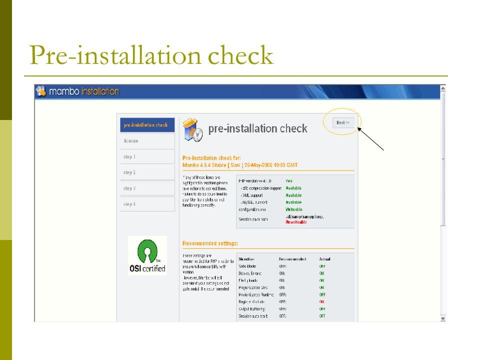 Pre-installation check