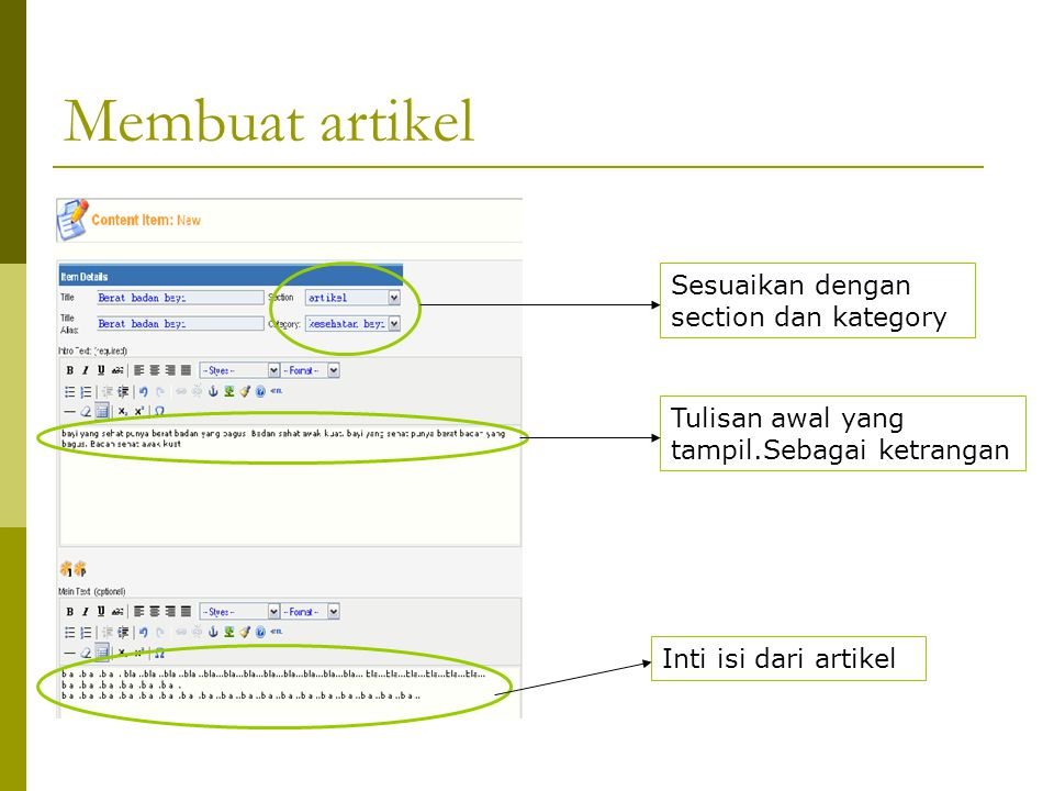 Membuat artikel Sesuaikan dengan section dan kategory Tulisan awal yang tampil.Sebagai ketrangan Inti isi dari artikel