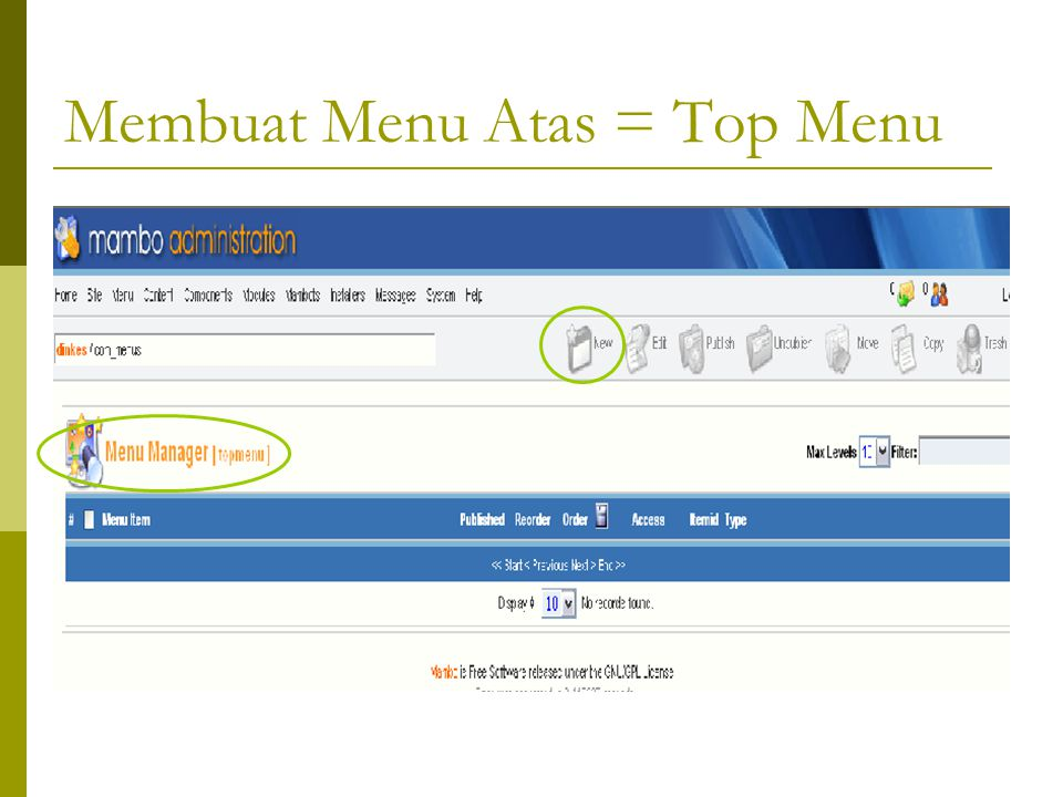 Membuat Menu Atas = Top Menu