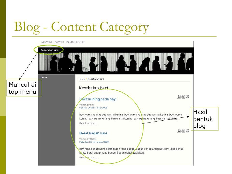 Muncul di top menu Hasil bentuk blog