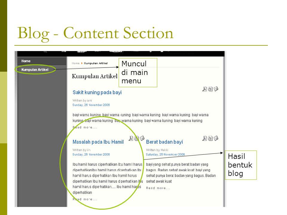 Muncul di main menu Hasil bentuk blog