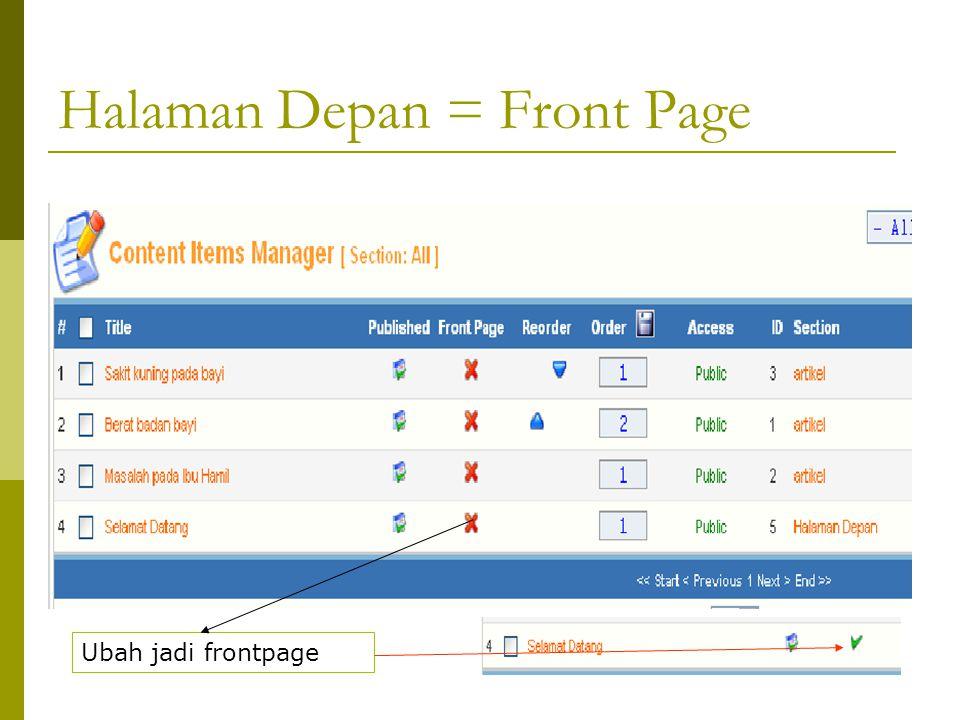 Halaman Depan = Front Page Ubah jadi frontpage
