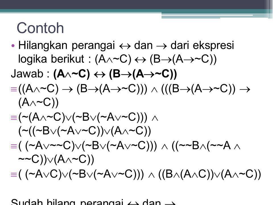 Contoh Hilangkan perangai  dan  dari ekspresi logika berikut : (A  ~C)  (B  (A  ~C)) Jawab : (A  ~C)  (B  (A  ~C))  ((A  ~C)  (B  (A  ~