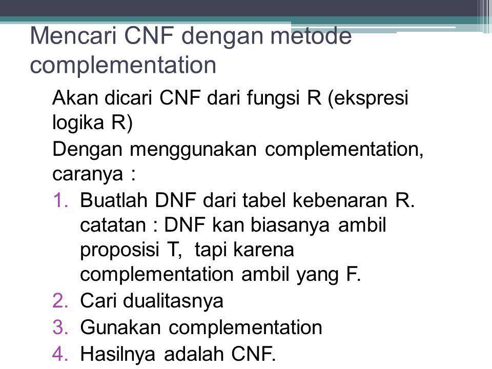 Mencari CNF dengan metode complementation Akan dicari CNF dari fungsi R (ekspresi logika R) Dengan menggunakan complementation, caranya : 1. Buatlah D