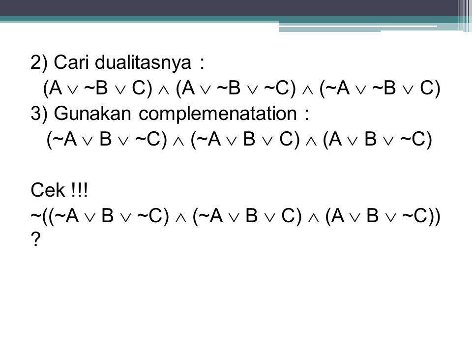 2) Cari dualitasnya : (A  ~B  C)  (A  ~B  ~C)  (~A  ~B  C) 3) Gunakan complemenatation : (~A  B  ~C)  (~A  B  C)  (A  B  ~C) Cek !!! ~