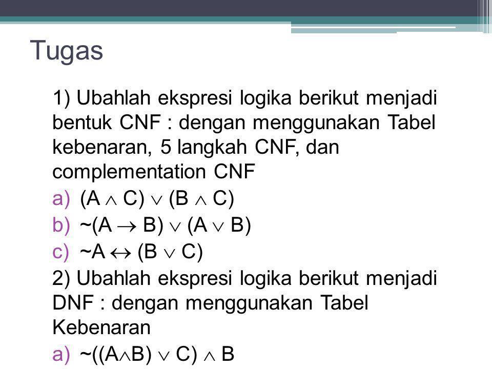 Tugas 1) Ubahlah ekspresi logika berikut menjadi bentuk CNF : dengan menggunakan Tabel kebenaran, 5 langkah CNF, dan complementation CNF a) (A  C) 