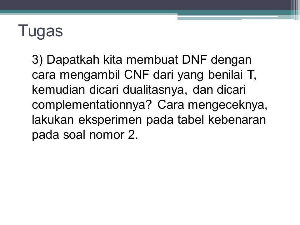 Tugas 3) Dapatkah kita membuat DNF dengan cara mengambil CNF dari yang benilai T, kemudian dicari dualitasnya, dan dicari complementationnya? Cara men
