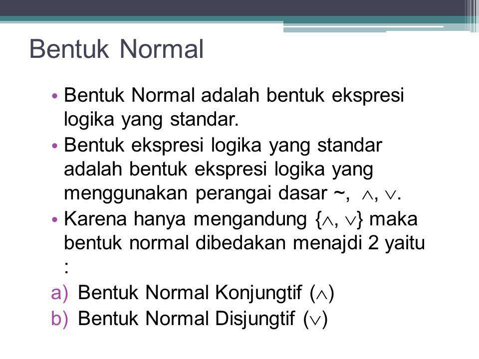 Bentuk Normal Bentuk Normal adalah bentuk ekspresi logika yang standar. Bentuk ekspresi logika yang standar adalah bentuk ekspresi logika yang menggun