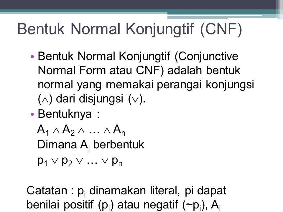 Bentuk Normal Konjungtif (CNF) Bentuk Normal Konjungtif (Conjunctive Normal Form atau CNF) adalah bentuk normal yang memakai perangai konjungsi (  )