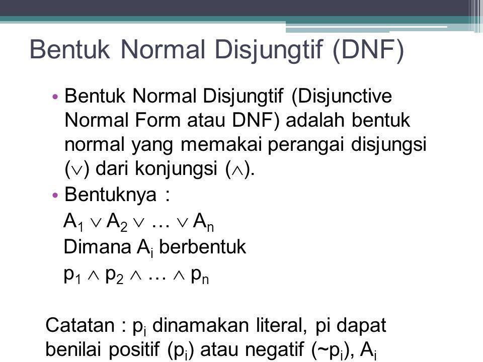 Bentuk Normal Disjungtif (DNF) Bentuk Normal Disjungtif (Disjunctive Normal Form atau DNF) adalah bentuk normal yang memakai perangai disjungsi (  )