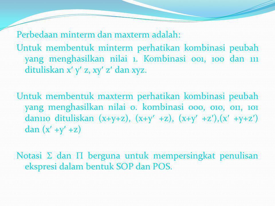 Perbedaan minterm dan maxterm adalah: Untuk membentuk minterm perhatikan kombinasi peubah yang menghasilkan nilai 1. Kombinasi 001, 100 dan 111 dituli