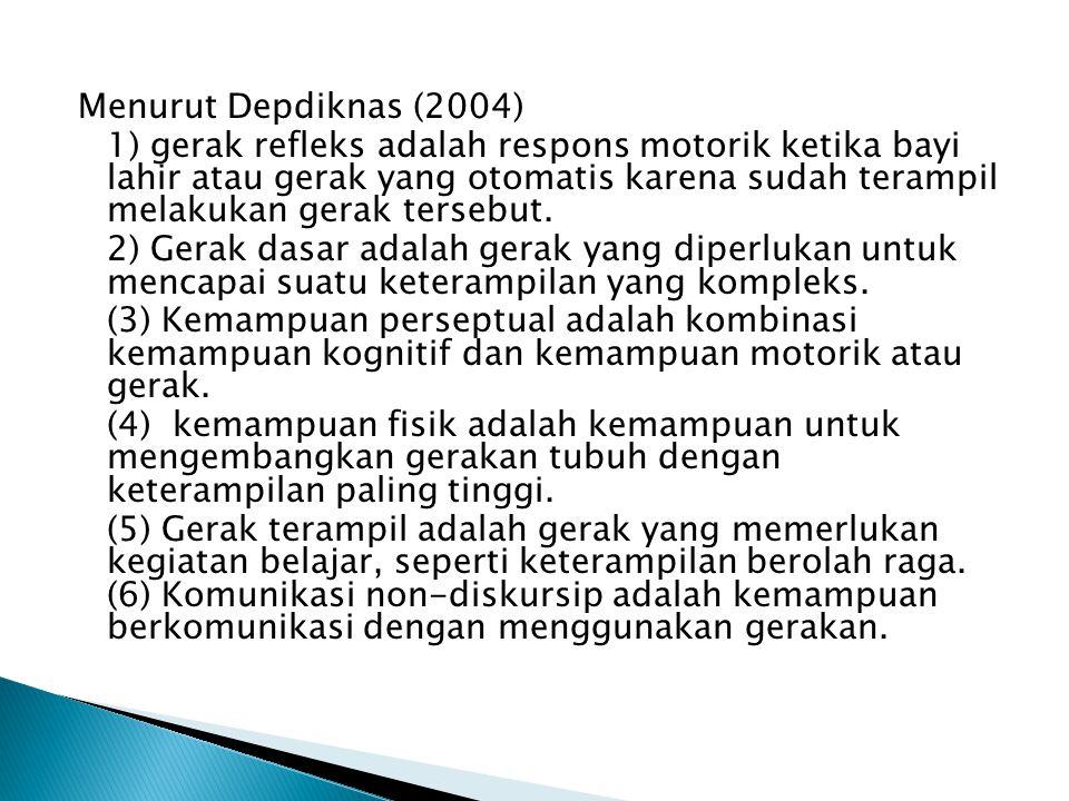 Menurut Depdiknas (2004) 1) gerak refleks adalah respons motorik ketika bayi lahir atau gerak yang otomatis karena sudah terampil melakukan gerak ters
