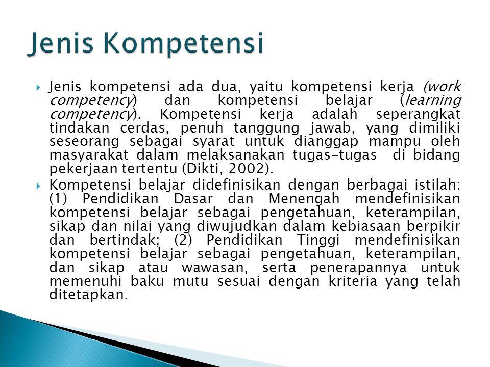  Jenis kompetensi ada dua, yaitu kompetensi kerja (work competency) dan kompetensi belajar (learning competency). Kompetensi kerja adalah seperangkat