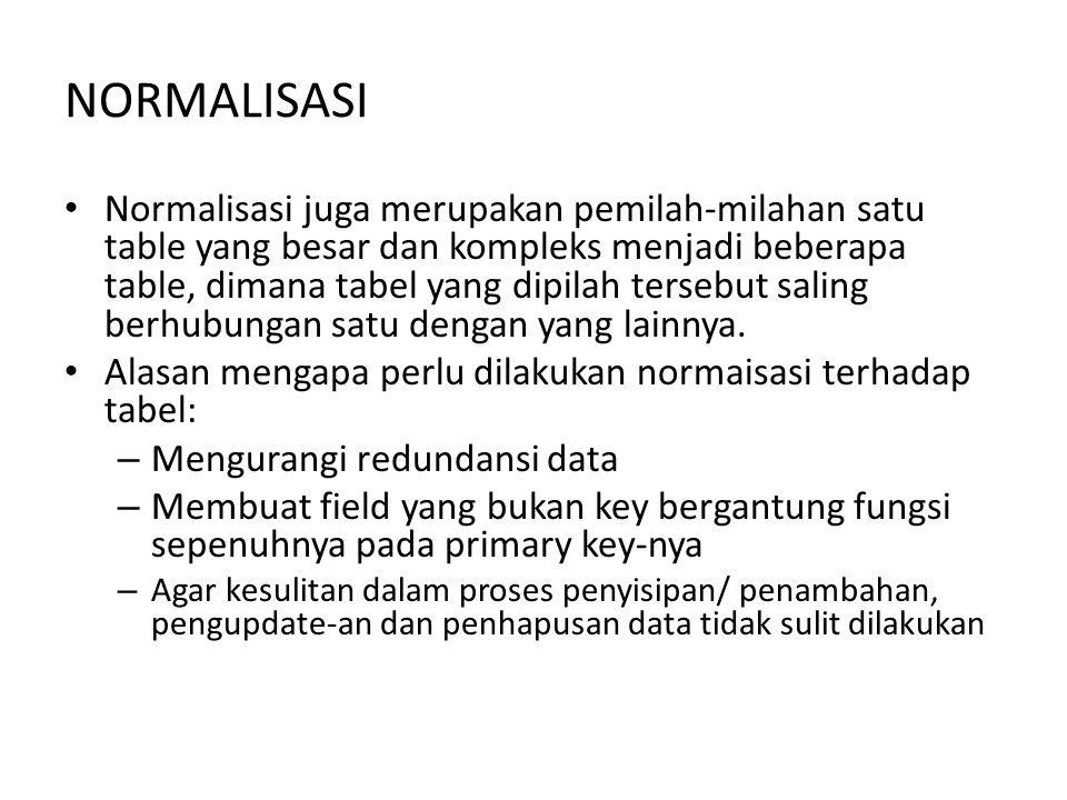 NORMALISASI Bentuk-bentuk normalisasi – bentuk tidak normal – bentuk normal pertama – bentuk normal kedua – bentuk normal ketiga – Dan seterusnya sampai dengan normal yang ke N