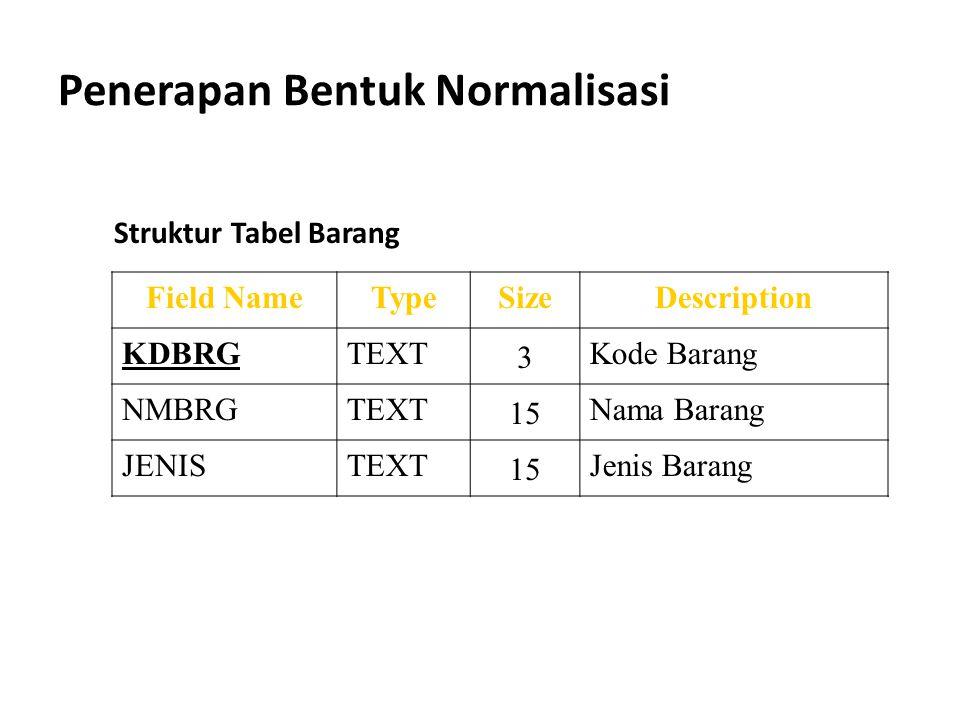 Penerapan Bentuk Normalisasi Field NameTypeSizeDescription KDBRGTEXT 3 Kode Barang NMBRGTEXT 15 Nama Barang JENISTEXT 15 Jenis Barang Struktur Tabel B