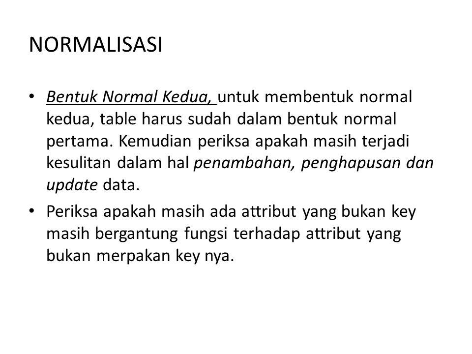 NORMALISASI Bentuk Normal Kedua, untuk membentuk normal kedua, table harus sudah dalam bentuk normal pertama. Kemudian periksa apakah masih terjadi ke