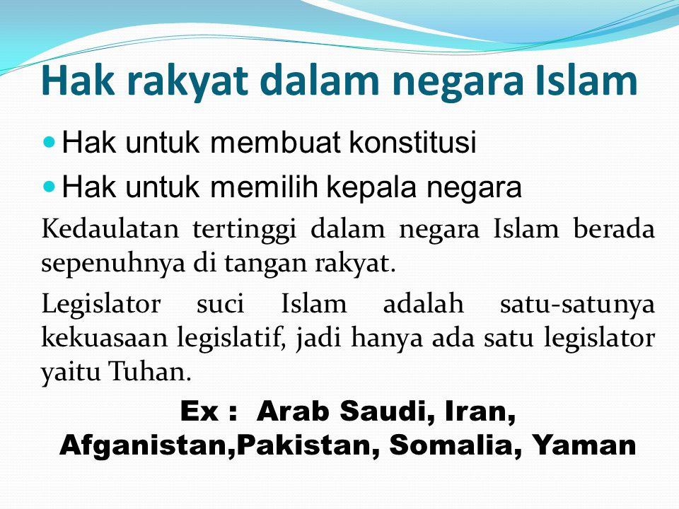 Hak rakyat dalam negara Islam Hak untuk membuat konstitusi Hak untuk memilih kepala negara Kedaulatan tertinggi dalam negara Islam berada sepenuhnya d