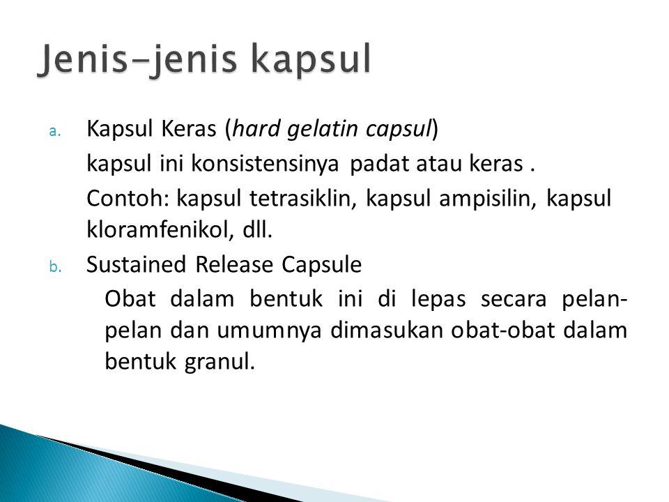 a.Kapsul Keras (hard gelatin capsul) kapsul ini konsistensinya padat atau keras.