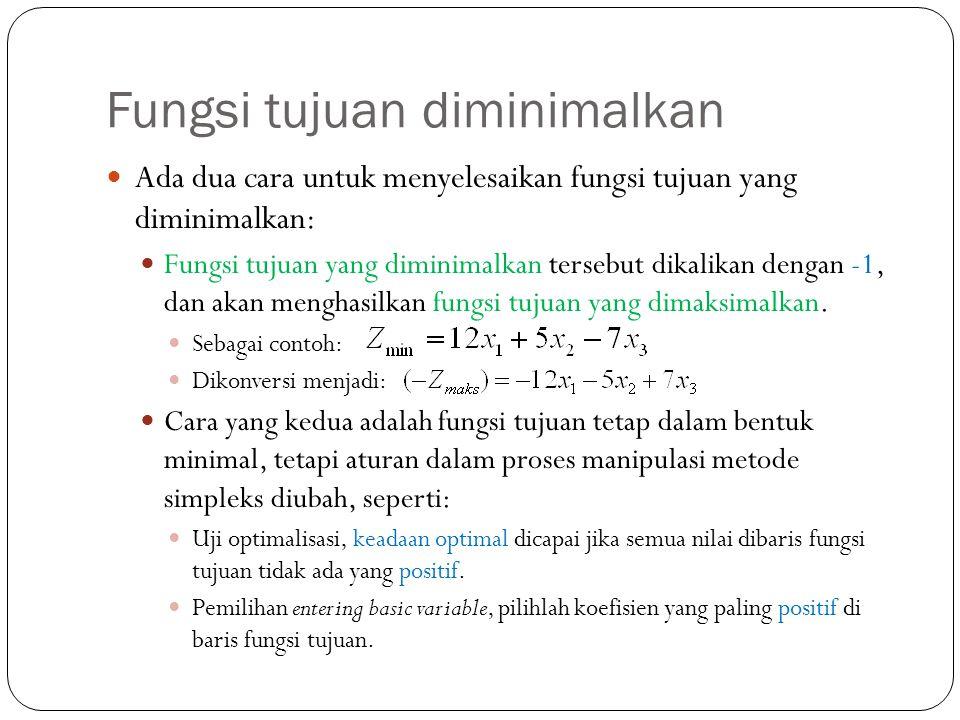 Fungsi tujuan diminimalkan Ada dua cara untuk menyelesaikan fungsi tujuan yang diminimalkan: Fungsi tujuan yang diminimalkan tersebut dikalikan dengan