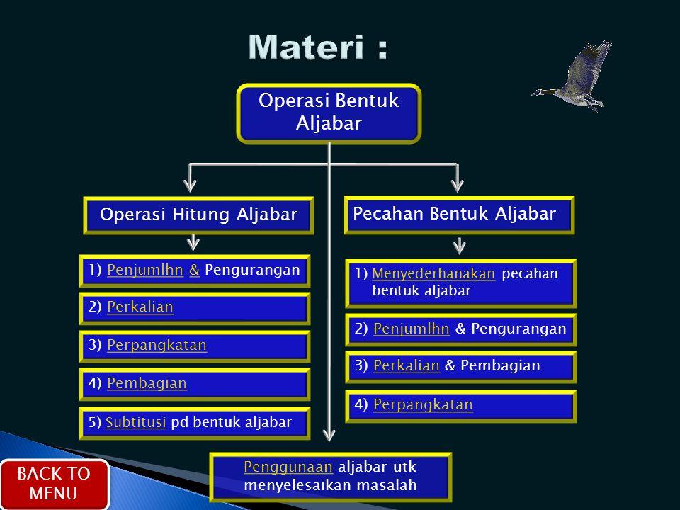 Operasi Bentuk Aljabar Operasi Hitung Aljabar Pecahan Bentuk Aljabar 1) Penjumlhn & Pengurangan 2) Perkalian 3) Perpangkatan 4) Pembagian 5) Subtitusi
