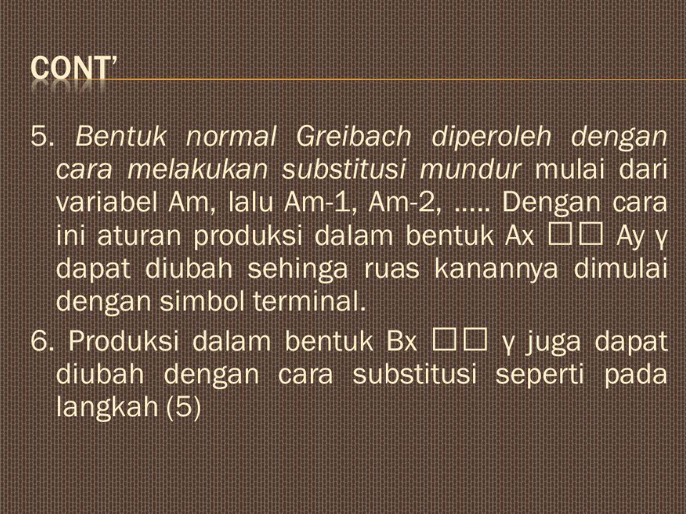 5. Bentuk normal Greibach diperoleh dengan cara melakukan substitusi mundur mulai dari variabel Am, lalu Am-1, Am-2,..... Dengan cara ini aturan produ