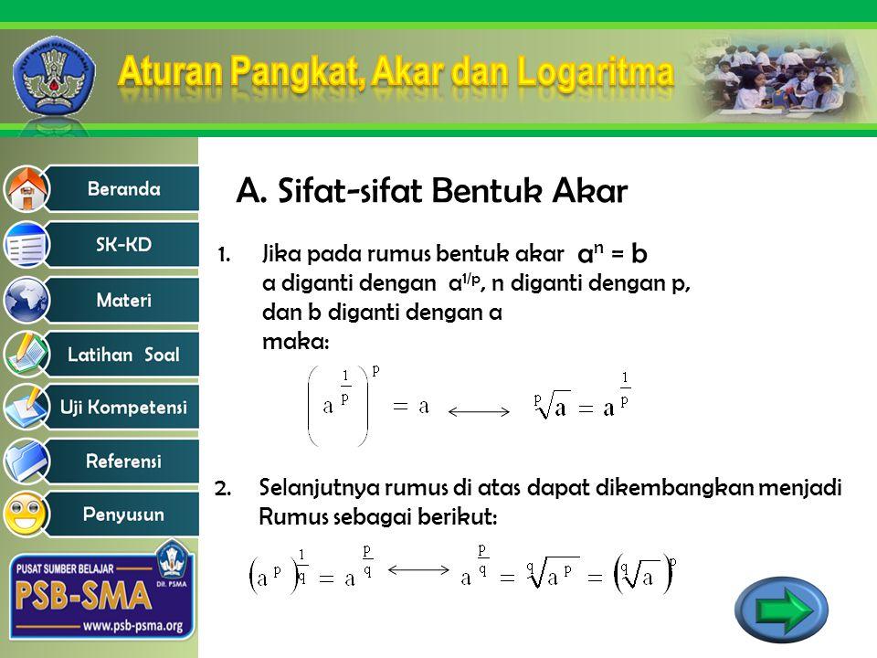 A. Sifat-sifat Bentuk Akar 1.Jika pada rumus bentuk akar a diganti dengan a 1/p, n diganti dengan p, dan b diganti dengan a maka: a n = b 2.Selanjutny