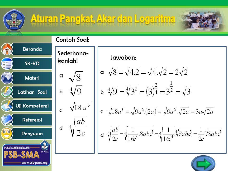 Contoh Soal : Sederhana- kanlah! a b c d Jawaban: a b c d