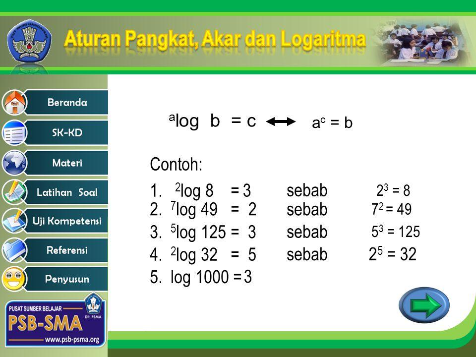 a log b = c a c = b 2 3 = 8 7 2 = 49 5 3 = 125 Contoh: 1. 2 log 8 =3 sebab 2. 7 log 49 =2sebab 3. 5 log 125 =3 sebab 4. 2 log 32 = 5 sebab2 5 = 32 5.