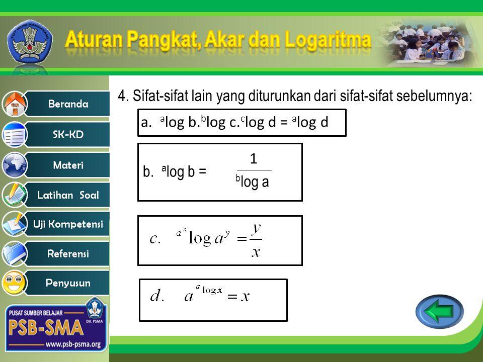 4. Sifat-sifat lain yang diturunkan dari sifat-sifat sebelumnya: a. a log b. b log c. c log d = a log d b. a log b = 1 b log a