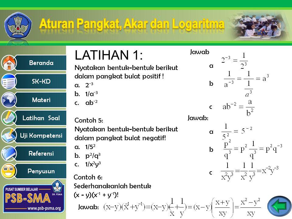 LATIHAN 1: Nyatakan bentuk-bentuk berikut dalam pangkat bulat positif ! a.2 -3 b.1/a -3 c.ab -2 Jawab a b c Contoh 5: Nyatakan bentuk-bentuk berikut d