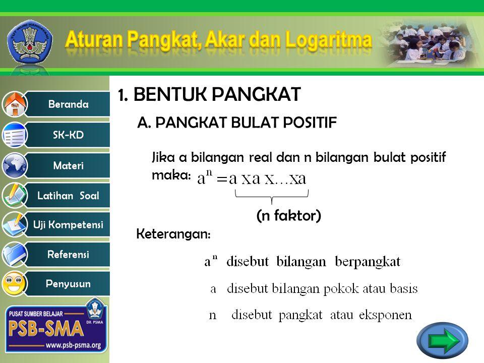 1. BENTUK PANGKAT Jika a bilangan real dan n bilangan bulat positif maka: (n faktor) Keterangan: A. PANGKAT BULAT POSITIF