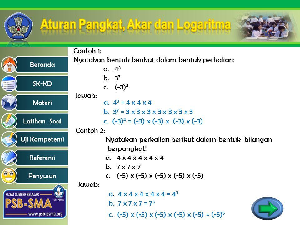 Contoh 1: Nyatakan bentuk berikut dalam bentuk perkalian: a.4 3 b.3 7 c.(-3) 4 Jawab: a. 4 3 = 4 x 4 x 4 b. 3 7 = 3 x 3 x 3 x 3 x 3 x 3 x 3 c. (-3) 4