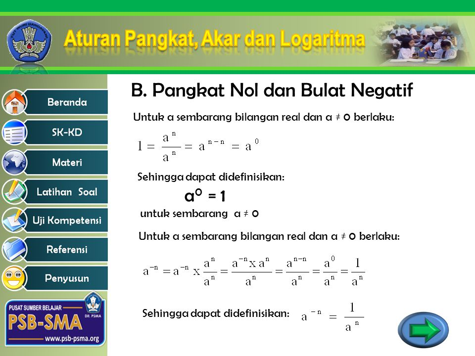 B. Pangkat Nol dan Bulat Negatif Untuk a sembarang bilangan real dan a ≠ 0 berlaku: Sehingga dapat didefinisikan: a 0 = 1 untuk sembarang a ≠ 0 Untuk