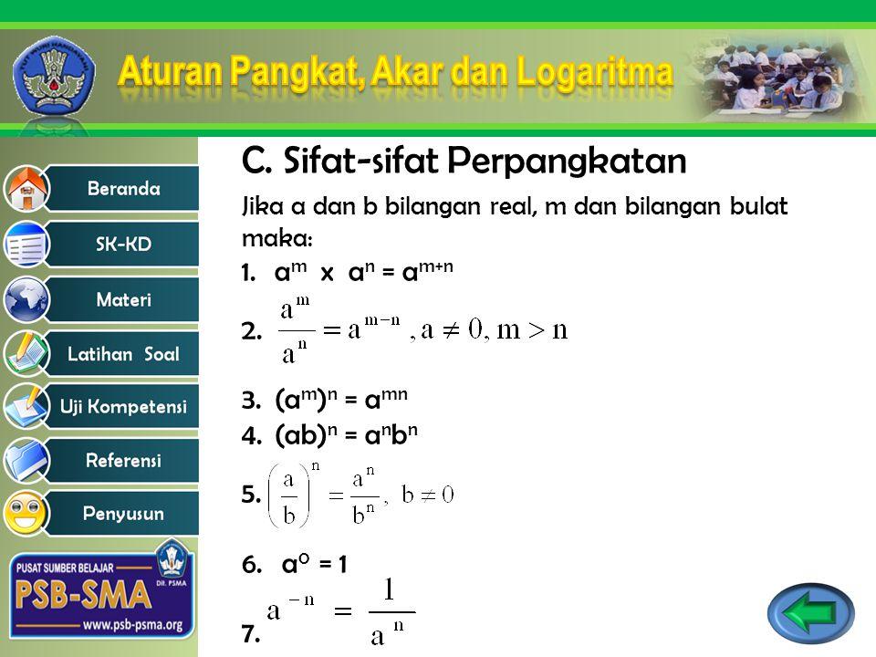 Jika a dan b bilangan real, m dan bilangan bulat maka: 1.a m x a n = a m+n 2. 3.(a m ) n = a mn 4.(ab) n = a n b n 5. 6. a 0 = 1 7. C. Sifat-sifat Per