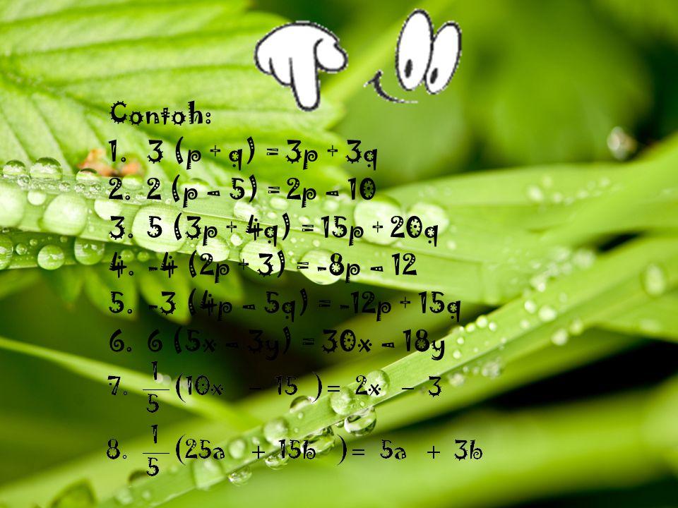 Contoh: 1.3 (p + q) = 3p + 3q 2.2 (p – 5) = 2p – 10 3.5 (3p + 4q) = 15p + 20q 4.-4 (2p + 3) = -8p – 12 5.-3 (4p – 5q) = -12p + 15q 6.6 (5x – 3y) = 30x