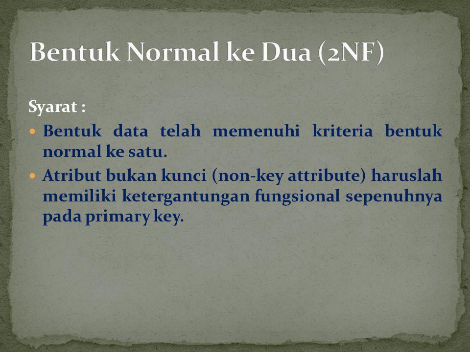 Syarat : Bentuk data telah memenuhi kriteria bentuk normal ke satu. Atribut bukan kunci (non-key attribute) haruslah memiliki ketergantungan fungsiona