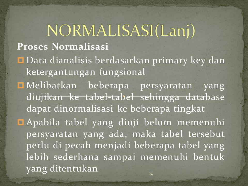 Proses Normalisasi p Data dianalisis berdasarkan primary key dan ketergantungan fungsional p Melibatkan beberapa persyaratan yang diujikan ke tabel-ta