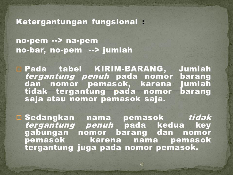 Ketergantungan fungsional : no-pem --> na-pem no-bar, no-pem --> jumlah o Pada tabel KIRIM-BARANG, Jumlah tergantung penuh pada nomor barang dan nomor