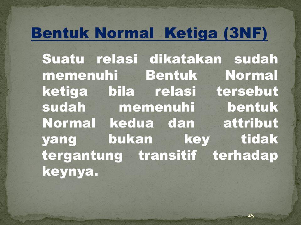 25 Bentuk Normal Ketiga (3NF) Suatu relasi dikatakan sudah memenuhi Bentuk Normal ketiga bila relasi tersebut sudah memenuhi bentuk Normal kedua dan attribut yang bukan key tidak tergantung transitif terhadap keynya.