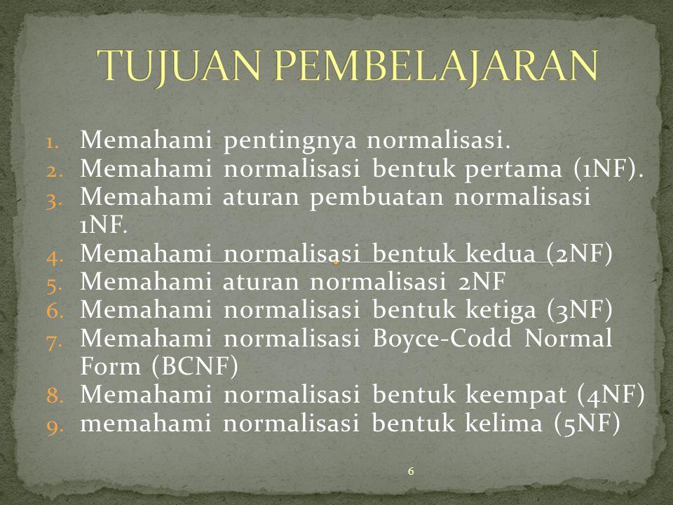 1. Memahami pentingnya normalisasi. 2. Memahami normalisasi bentuk pertama (1NF). 3. Memahami aturan pembuatan normalisasi 1NF. 4. Memahami normalisas