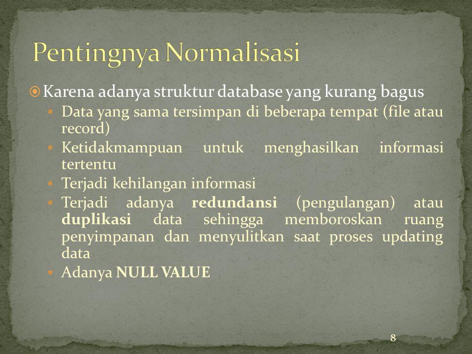  Karena adanya struktur database yang kurang bagus  Data yang sama tersimpan di beberapa tempat (file atau record)  Ketidakmampuan untuk menghasilkan informasi tertentu  Terjadi kehilangan informasi  Terjadi adanya redundansi (pengulangan) atau duplikasi data sehingga memboroskan ruang penyimpanan dan menyulitkan saat proses updating data  Adanya NULL VALUE 8