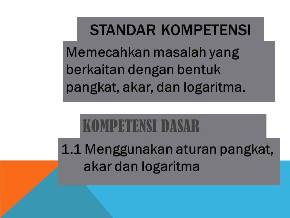 STANDAR KOMPETENSI Memecahkan masalah yang berkaitan dengan bentuk pangkat, akar, dan logaritma. KOMPETENSI DASAR 1.1 Menggunakan aturan pangkat, akar