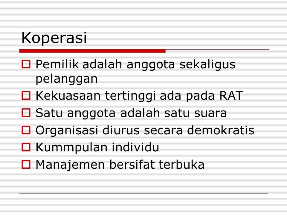Koperasi PPemilik adalah anggota sekaligus pelanggan KKekuasaan tertinggi ada pada RAT SSatu anggota adalah satu suara OOrganisasi diurus secara demokratis KKummpulan individu MManajemen bersifat terbuka