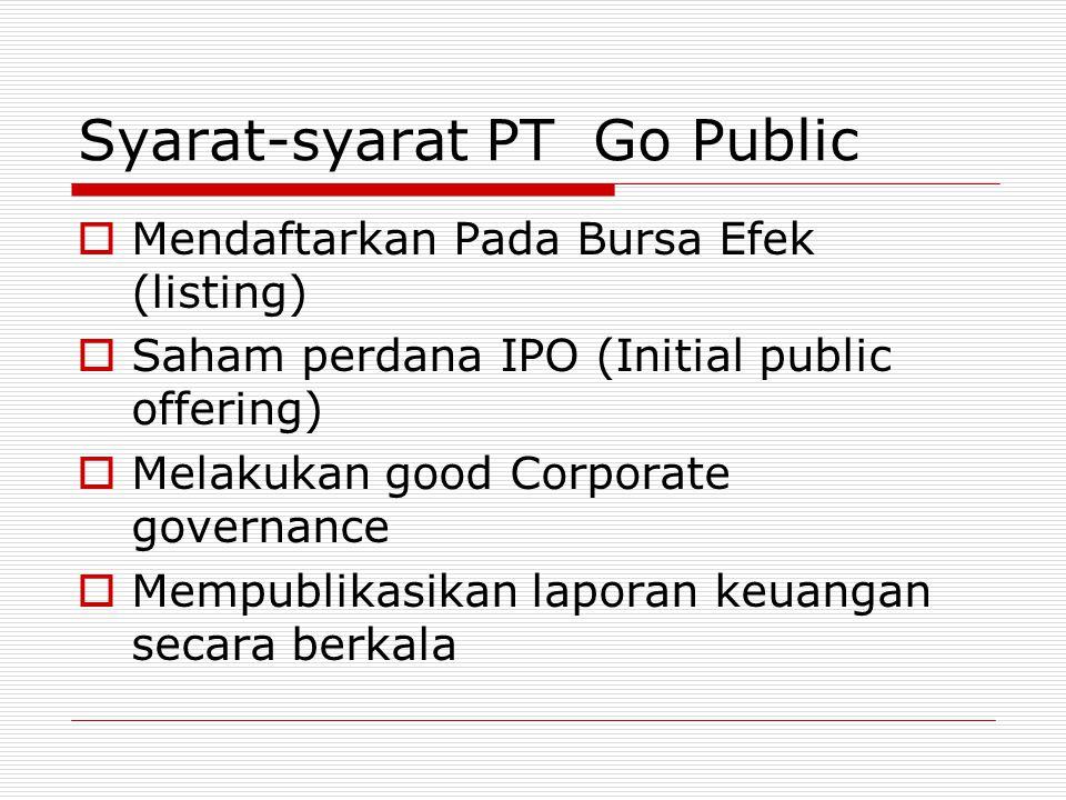 Syarat-syarat PT Go Public MMendaftarkan Pada Bursa Efek (listing) SSaham perdana IPO (Initial public offering) MMelakukan good Corporate governance MMempublikasikan laporan keuangan secara berkala