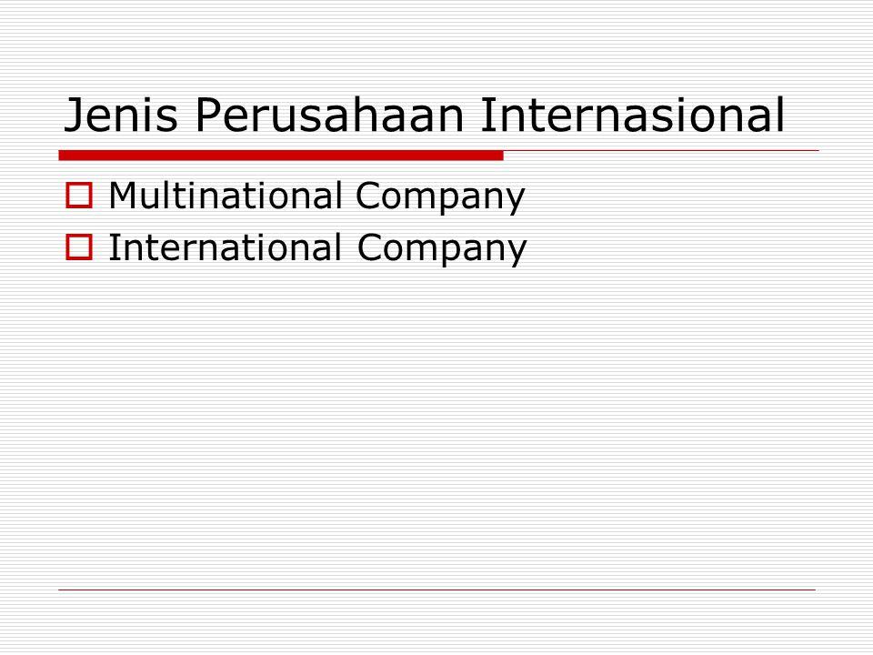 Jenis Perusahaan Internasional  Multinational Company  International Company
