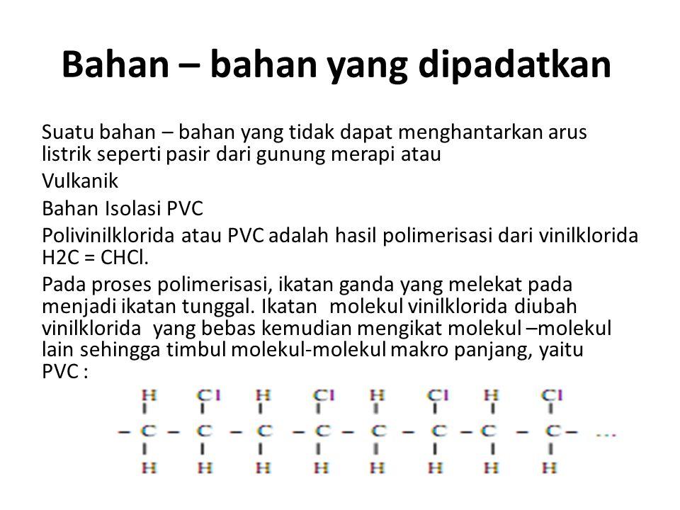 Bahan – bahan yang dipadatkan Suatu bahan – bahan yang tidak dapat menghantarkan arus listrik seperti pasir dari gunung merapi atau Vulkanik Bahan Iso