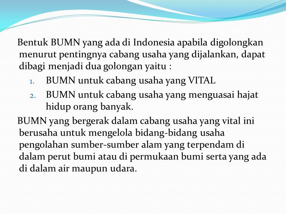 Bentuk BUMN yang ada di Indonesia apabila digolongkan menurut pentingnya cabang usaha yang dijalankan, dapat dibagi menjadi dua golongan yaitu : 1. BU