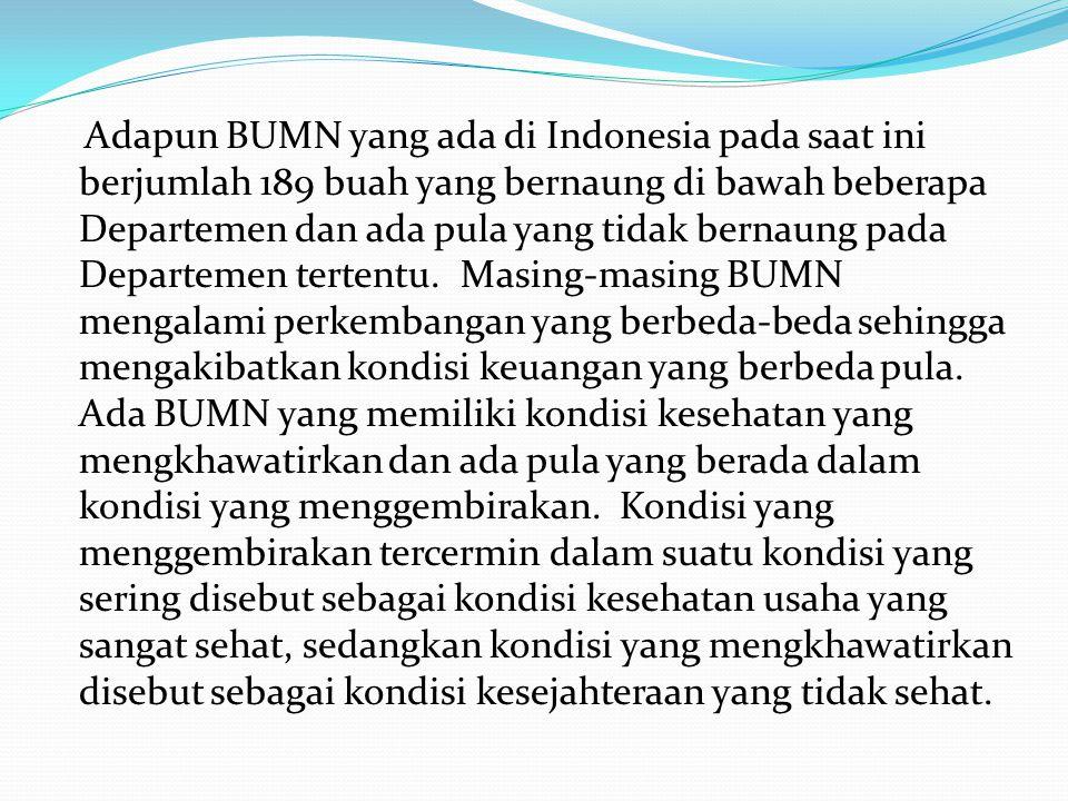 Adapun BUMN yang ada di Indonesia pada saat ini berjumlah 189 buah yang bernaung di bawah beberapa Departemen dan ada pula yang tidak bernaung pada De